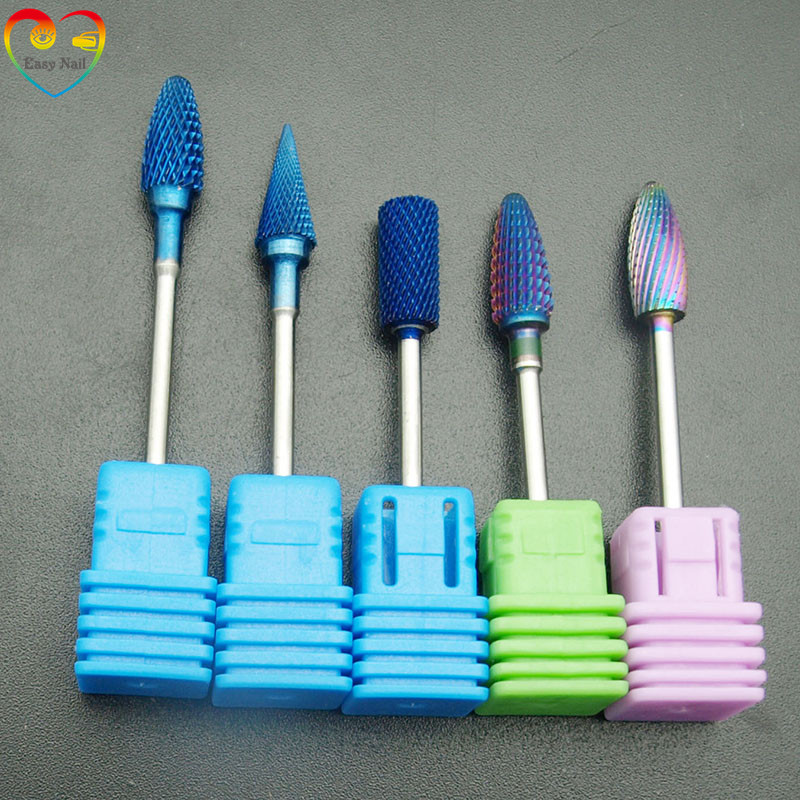 Easynail Tungsten Carbide Burrs Nano Coating Nail Drill Bits Blue Metal Drill Bits For Manicure Electric Drill Accessorie