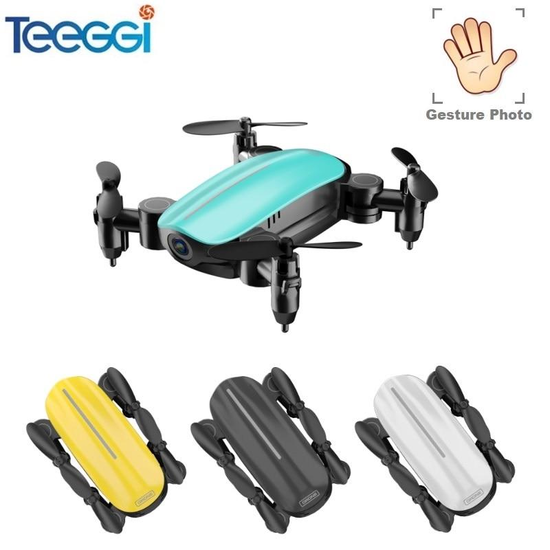 Teeggi T10 Mini Drone avec Caméra HD Pliable WiFi FPV quadcopter rc Sans Tête Mode Maintien D'altitude VS S9 Micro Poche Selfie dron