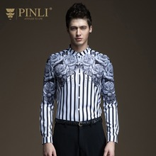 Free Shipping New fashion casual personality male men's long sleeved Spring 2017 slim stripe Mens Shirt printing B171113004