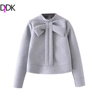 DIDK Grey Bow Embellished Crew Neck Sweatshirt Autumn Winter Cute Pullovers For Women Long Sleeve Zipper