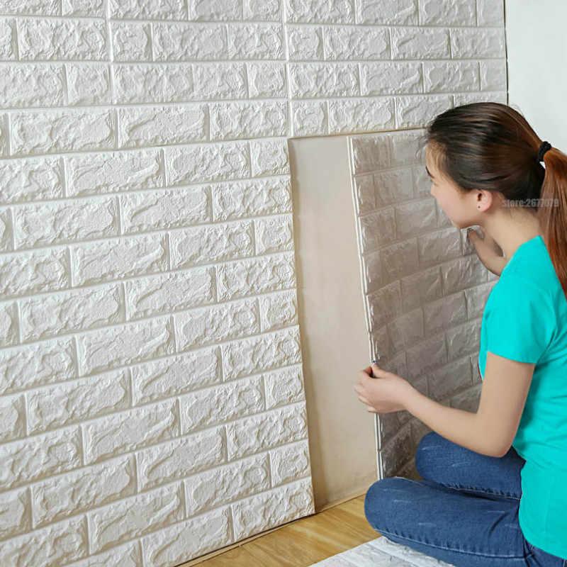 3D ملصقات جدار تقليد الطوب ديكور غرفة نوم للماء ذاتية اللصق خلفيات لغرفة المعيشة المطبخ التلفزيون خلفية Decor60 * 60