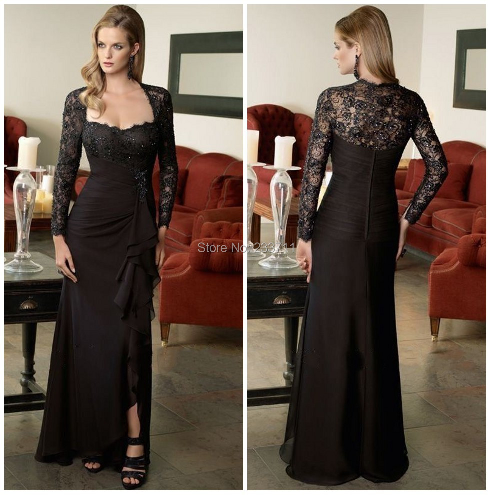 Online get cheap black formal maternity dress aliexpress exquisite a line long sleeve maternity black formal evening dresses 2017 chiffon beaded lace special occasion ombrellifo Choice Image