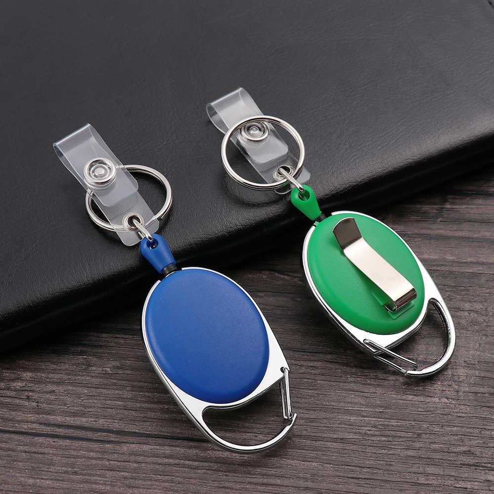 1/2PC Unisex zwijacz Pull brelok ID smycz na identyfikator nazwa Tag torebeczka na klucze karty zaczep do paska trwałe Key Ring łańcuch torby klip