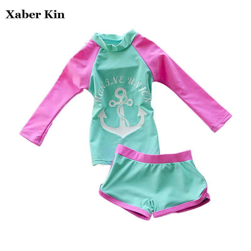 a3baac96ad Detail Feedback Questions about New 2017 Girls Swimsuit Two Piece Sporting  Suits Long Sleeve Solid Children Kids Swimwear For Girls Plavky Beachwear  G13 K52 ...
