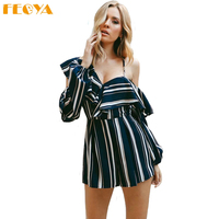 Feoya Overall Irregular Sexy Women Nightclub Jumpsuits Off Shoulder Striped Harness V neck Ruffles Top Rompers Female Shorts