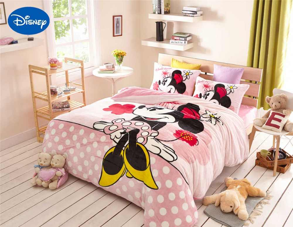Pink Mickey Minnie Mouse Flannel bed sheet set 4pcs queen full comforter  cover soft kids child bedroom decor warm girls gft