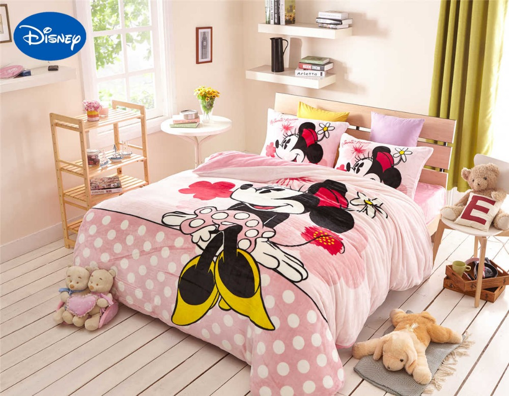 pink mickey minnie mouse flannel quilt comforter bedding set twin full queen size bedspread girl home