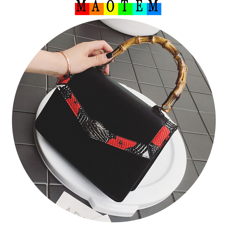 MAOTEM Factory Price!2017 Famous Popular Bags New Design Women Handbags,High Quality Bamboo Handle Snake Head Crossbody Bags toyoosky 2018 famous women tote bags new design wool plaid handbags high quality bamboo handle shoulder crossbody