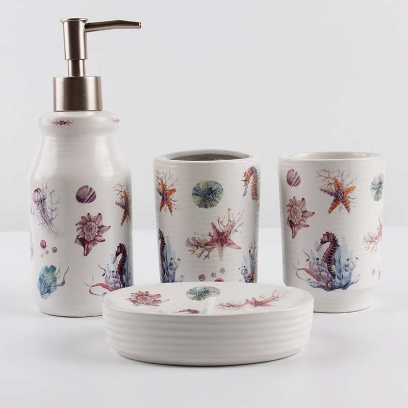 FREELOVE Ceramic Jar Decor Bathroom Set of 4  Lotion Bottle Pump Soap Dispenser / Tumbler Cup / Toothbrush Holder/Soap Dish Tray|Bathroom Accessories Sets| |  - title=