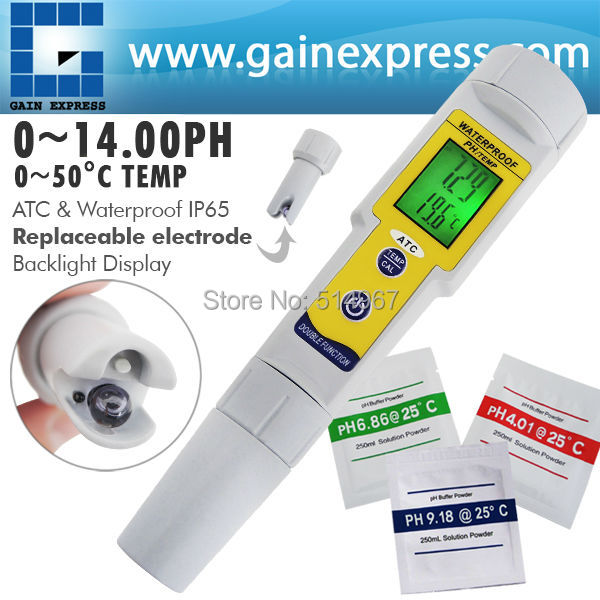 ФОТО Pen-type Waterproof Digital pH and Temperature Meter with Auto Buffer Recognition 14.00 pH Range 2-Liner Display