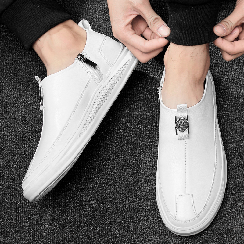 2019 new men 39 s shoes casual genuine leather cow loafers male classic white black slip on shoe man waterproof flat shoes for men in Men 39 s Casual Shoes from Shoes