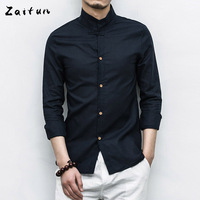 ZAITUN Brand Plus Size 5XL Classic Linen Cotton Men Shirts Solid Color Slim Fit Mandarin Collar