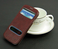 High Quality Double View Window Leather PU Flip Case For Samsung S3 I9300 Stand Cover Case