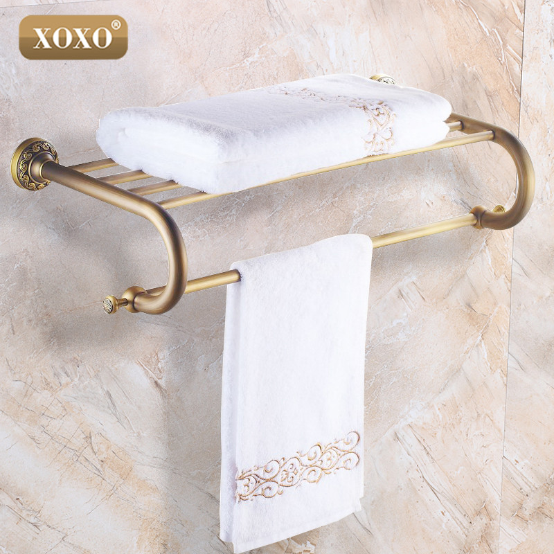 XOXO Antique Bathroom Accessories Solid Brass Finished Towel Bar Bathroom Product Towel Holder Towel Rack 20020B oil rubbed bronze brass bathroom towel rack holder crystal hanger ceramic holder