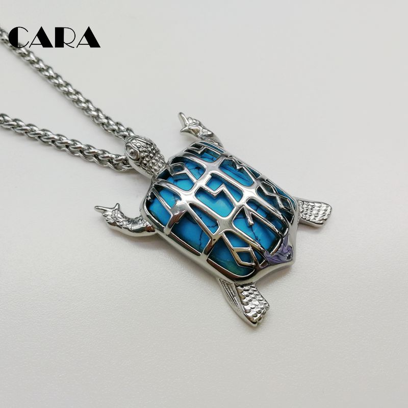 CARA new 316L stainless steel Marble stone Turtle pendant necklace unique  mens tortoise charm necklace fashion jewelry CARA0346 569516e60f92