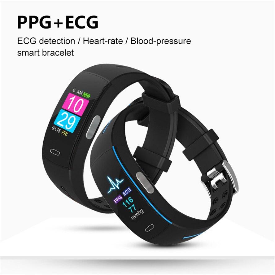 H66 Pl tension artérielle bande intelligente moniteur de fréquence cardiaque PPG ECG Bracelet Intelligent P3 plus Activit fitness Tracker Bracelet Intelligent - 5