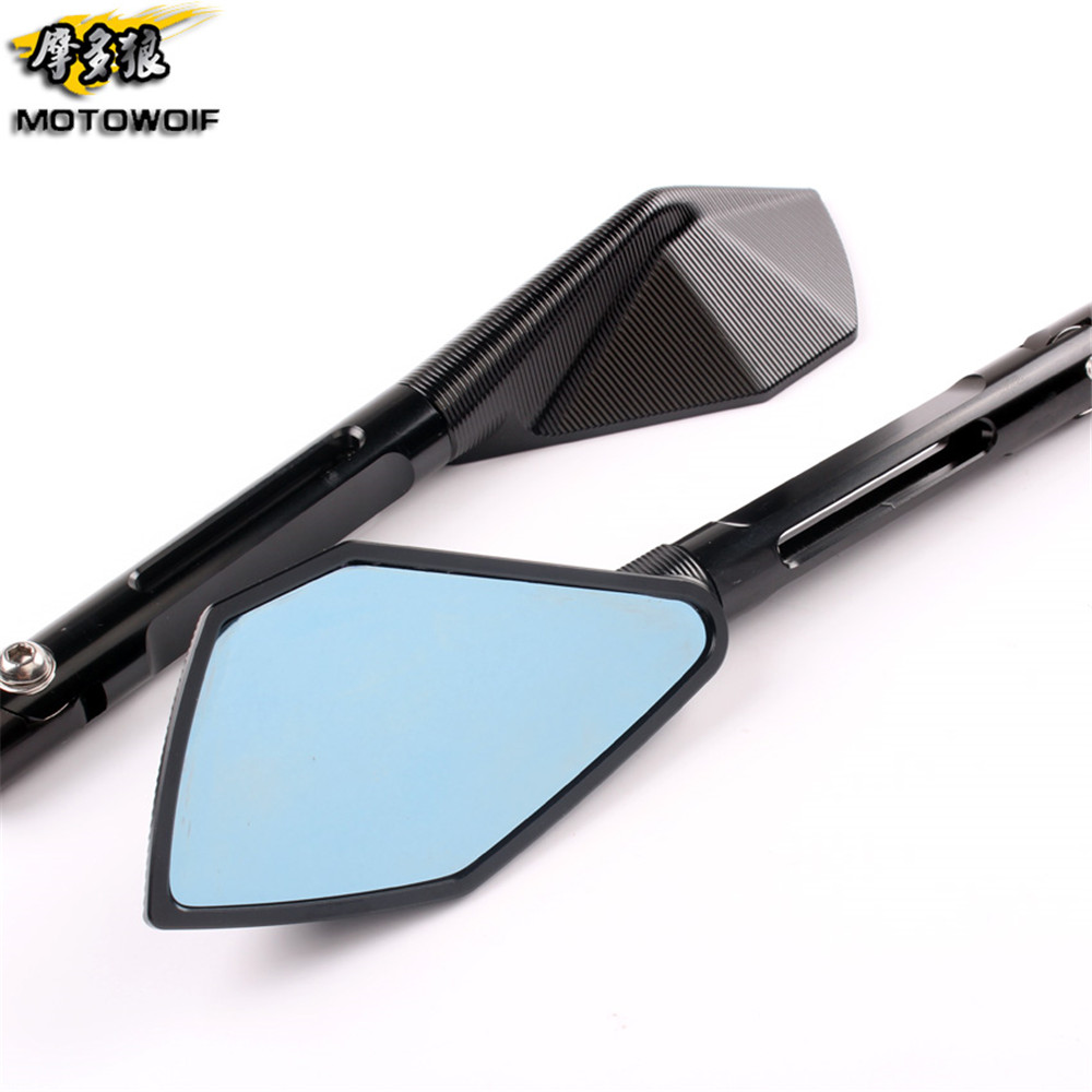 Aliexpress Com Buy Blue Glass Cnc Motorcycle Mirror