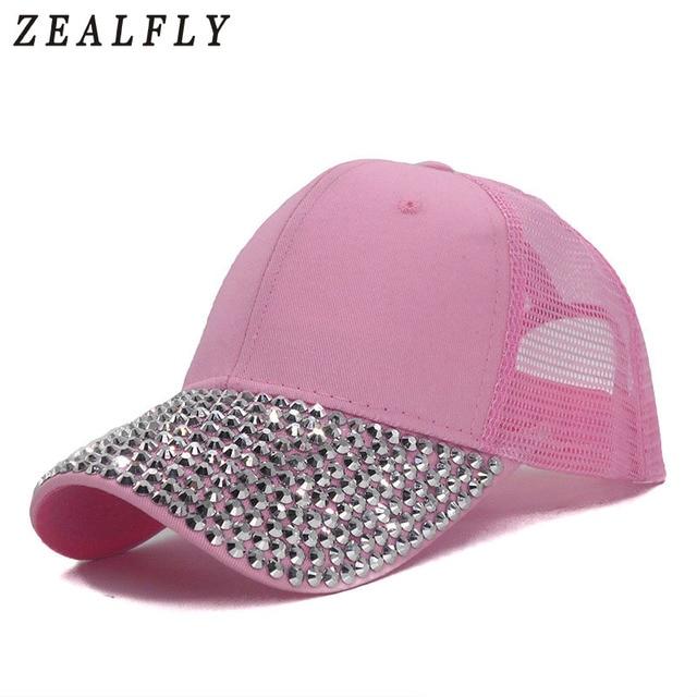 21716a2e141 Pink Summer Breathable Mesh Truck Cap Bling Rhinestone Women Cap New Casual  Beach Visor Adjustable Hip