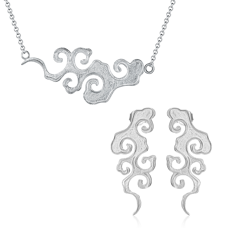 Lotus Fun Real 925 Sterling Silver Handmade Designer Fine Jewelry Sunset Cloud Jewelry Set with Drop Earring Pendant Necklace
