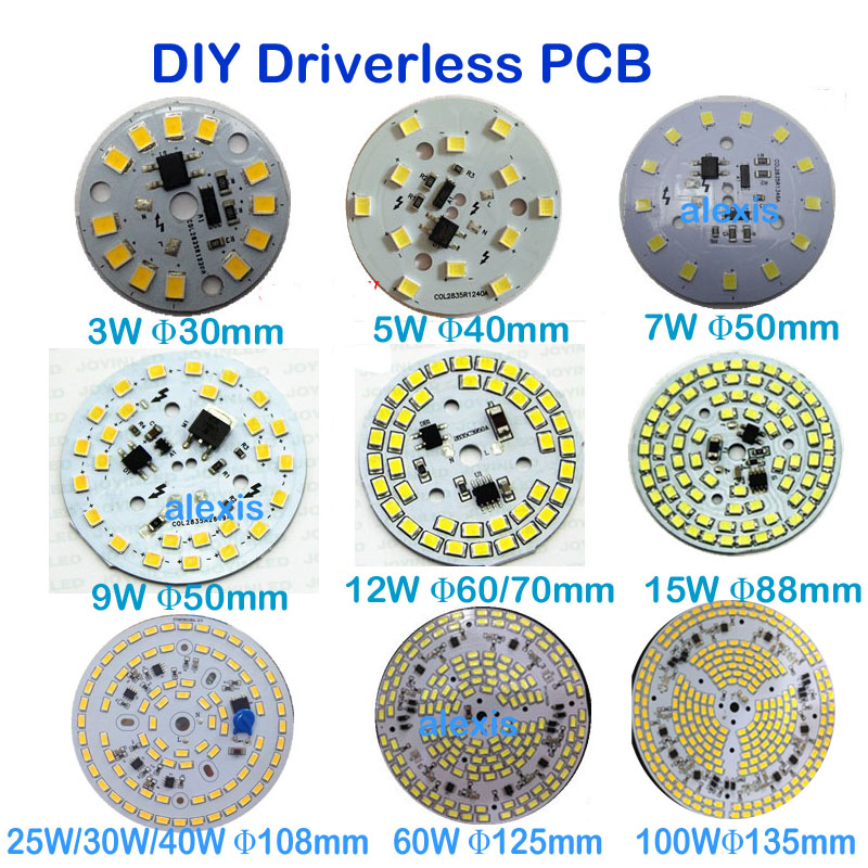 Driverless Dimmable LED PCB Plate 3W 5W 7W 9W 12W 15W 25W 30W 60W 100W Integrated IC Driver Lamp Panel LED PCB Down Light