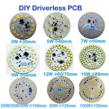 Driverless Dimmable LED PCB Plate 3W 5W 7W 9W 12W 15W 25W 30W 60W 100W Integrated IC Driver Lamp Panel Down Light