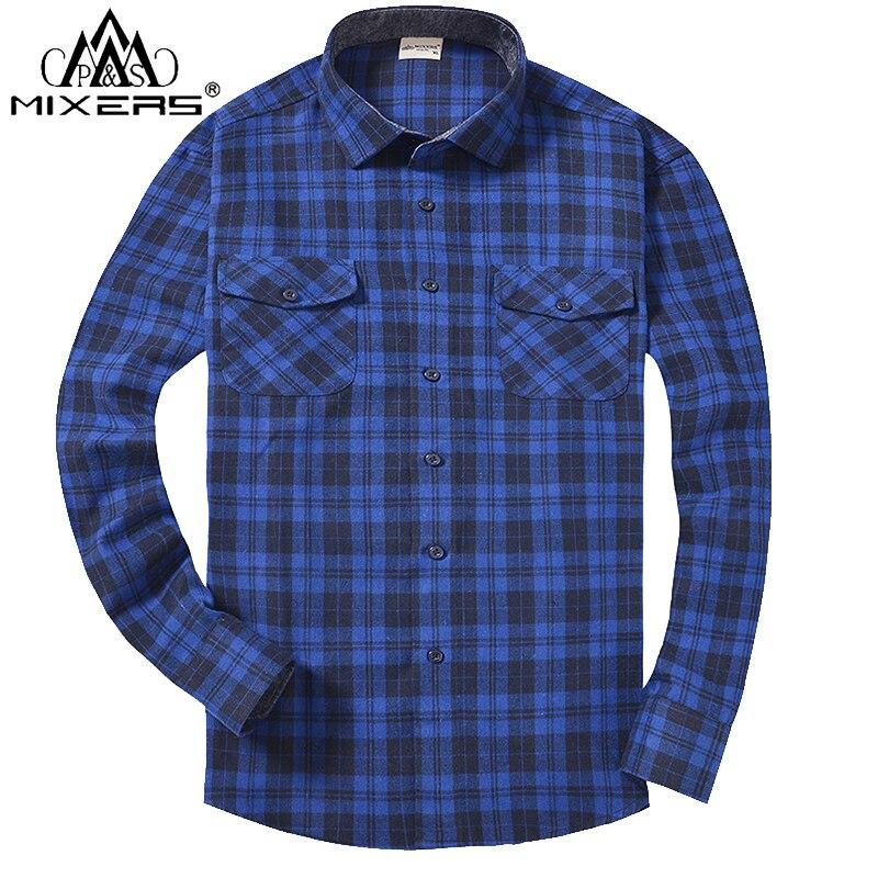 2018 Otoño Invierno moda franela camisas hombres manga larga dos bolsillos en el pecho Slim Fit 100% algodón Plaid Casual franela camisa hombres