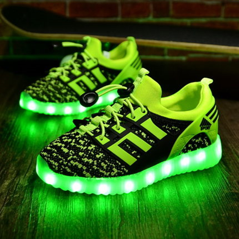 LED Shoes women flat with New Light Up USB Charge led Glowing neon Flash leisure luminous non-leather casual Shoes female