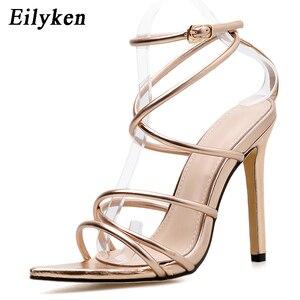 Image 4 - Eilyken/новые женские сандалии в римском стиле на высоком каблуке 12 см, с открытым носком, золотистого/серебристого цвета
