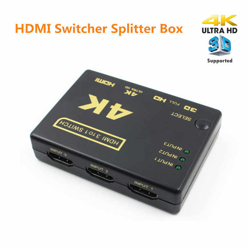 Mini HDMI Penguat Switch, 3 Port 4K * 2K Switcher Splitter Kotak Ultra HD untuk DVD HDTV Xbox PS3 PS4