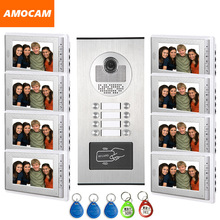 8 Units Video Intercom Apartment Door Phone System HD Camera 7″ Monitor video Doorbell with 5-RFID Card Unlock for 8 Household