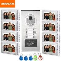 8 Units Video Intercom Apartment Door Phone System HD Camera 7 Monitor Video Doorbell With 5