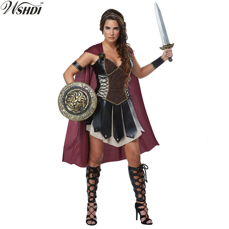 Mens Gladiator Costume Adults Spartan Greek Warrior Soldier Fancy Dress Outfit
