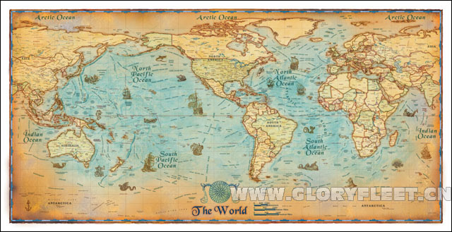 Large HD Vintage Ocean Map Classrooms Office Home Decoration ...
