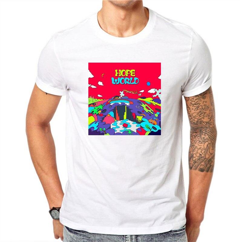 Novel Hope World Printed Magliette Uomo Cotton Mens Streetwear White   T     Shirt   O-neck Short Sleeve Men's   T  -  shirt   Fashion Men   Shirt