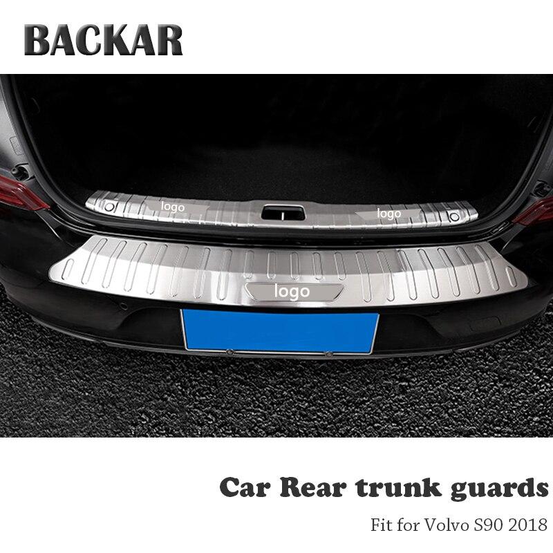 BACKAR 1pc Auto Car Rear Trunk Bumper Stickers For Volvo S90 2017 2018 Accessories Trunk Door Trim Anti Collision