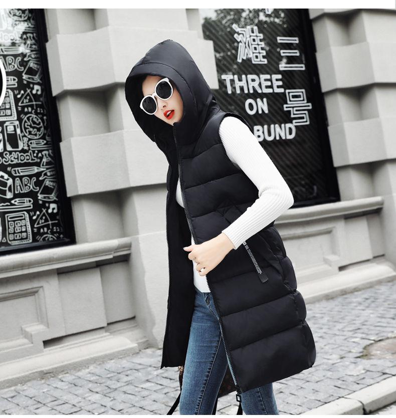 Autumn Winter Women Waistcoat Sleeveless Vest Jacket Hooded Warm Long 26