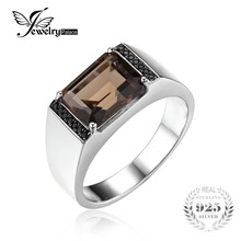 Jewelrypalace hombres 4ct emerald cut cuarzo ahumado natural negro espinela anillo aniversario de boda de plata esterlina 925 joyería fina