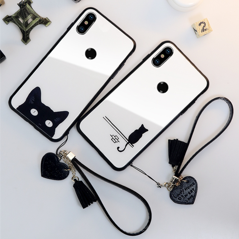 BONVAN Tempered Glass Case For xiaomi mi 9 se 8 mi8 lite Cat Cover mi9 Heart Tassel lanyard phone Cases
