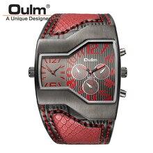Oulm Schlangen Leder Sport Uhren Männer Luxus Marke Doppel Zeit Zeigen Military Uhr Männlichen Casual Quarz Armbanduhr Stunden