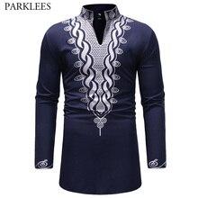Stylowy afrykański dashiki T Shirt mężczyźni bardzo długi Henley Neck Wag Style męskie koszulki 2018 slim fit z długim rękawem koszulki w stylu harajuku Tees