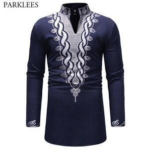Image 1 - אופנתי האפריקאי דאשיקי T חולצת גברים ארוך במיוחד הנלי צוואר לכשכש סגנון Mens חולצות 2018 Slim Fit ארוך שרוול Harajuku חולצות Tees