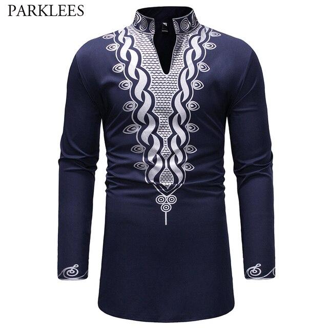 אופנתי האפריקאי דאשיקי T חולצת גברים ארוך במיוחד הנלי צוואר לכשכש סגנון Mens חולצות 2018 Slim Fit ארוך שרוול Harajuku חולצות Tees