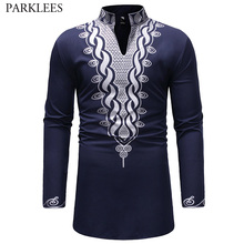 Şık afrika Dashiki T gömlek erkekler ekstra uzun Henley boyun Wag stil erkek t shirt 2018 Slim Fit uzun kollu Harajuku tees Tops