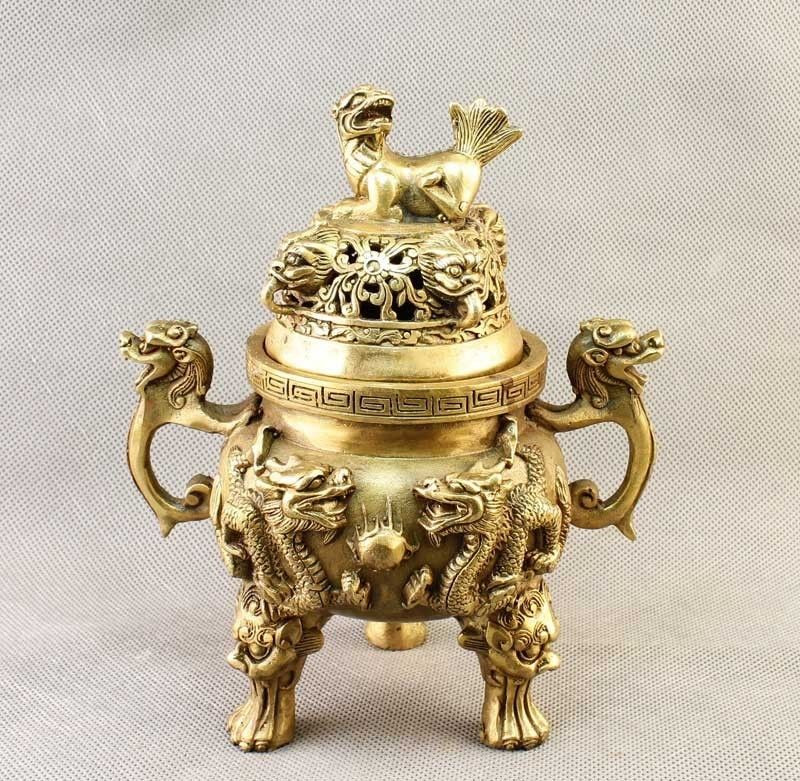 Copper Brass CHINESE crafts decoration China Brass carved Dragon&FOO FU Dog Incense Burner/Censer StatueCopper Brass CHINESE crafts decoration China Brass carved Dragon&FOO FU Dog Incense Burner/Censer Statue