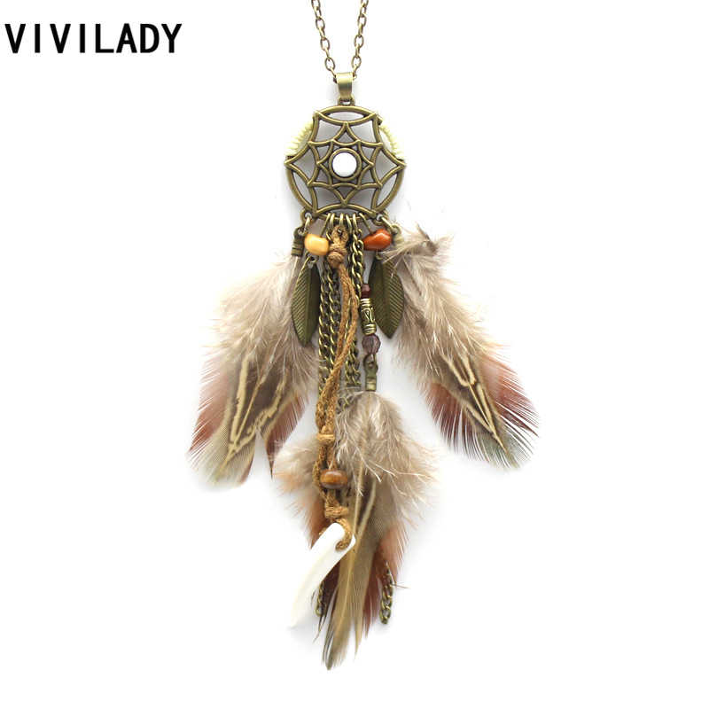 VIVILADY Antique Bronze Long Chain Pendant Feather Necklace Femme Vintage Maxi Ethnic Indian Dreamcatcher Tassel Jewelry Gifts