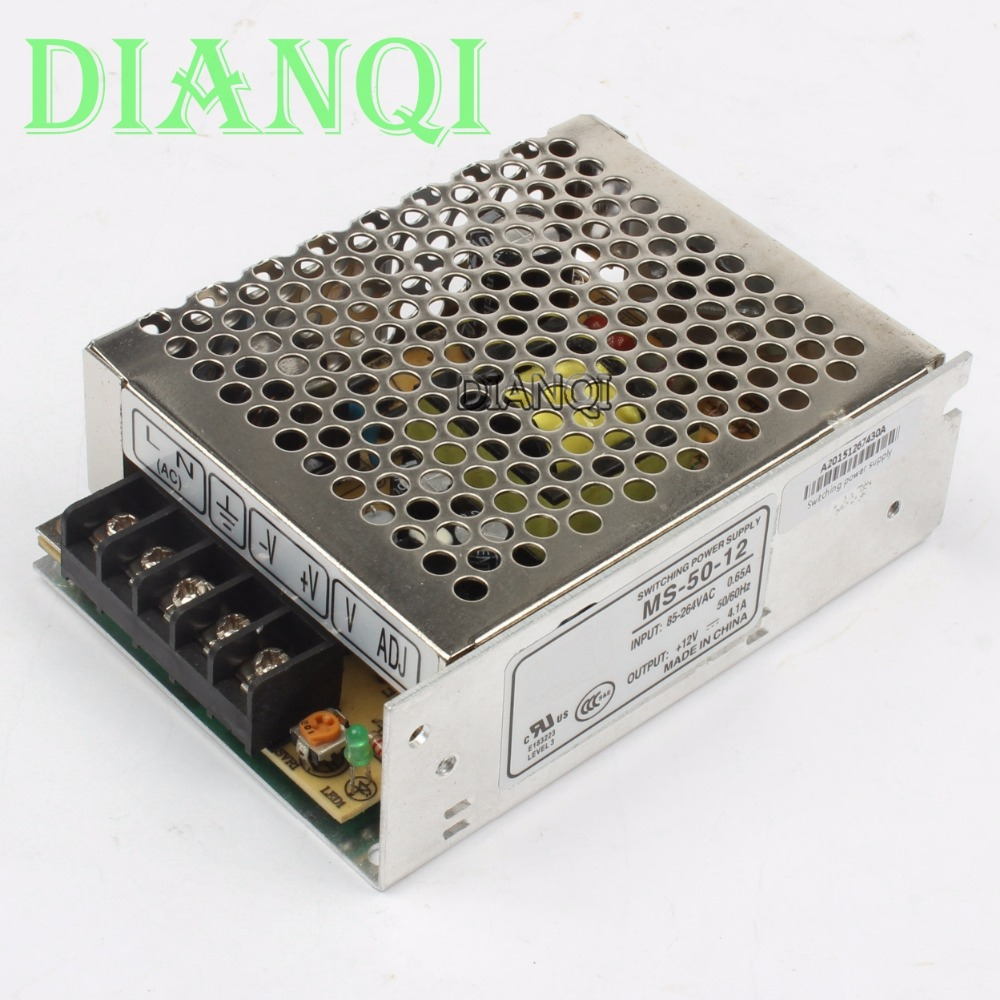 DIANQI power supply 12V 50W power suply 50W 12V 4.2A mini size din led  ac dc converter ms-50-12 1pcs 60w 12v 5a power supply ac to dc power suply 12v 60w power supply 100 240vac 111 78 36mm
