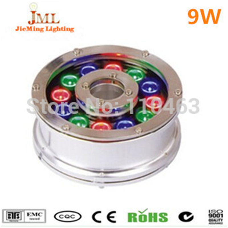 Free shipping IP68 waterproof LED fountain light underwater light led 6W 9W DC12V 24V bule red green white yellow swimming pool