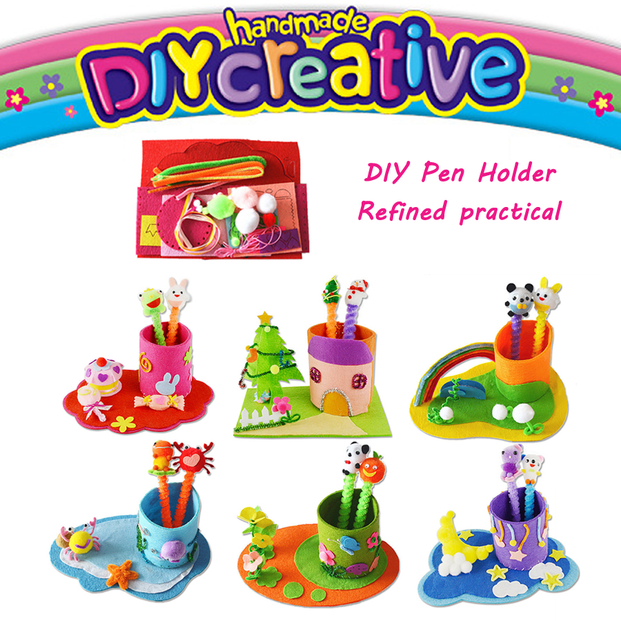 Kid DIY Crafts DIY Handmade Sewing Craft Kit Non-woven Fabric Toys Pen Containe,Art & Crafts Educational Toy For Kid Pen Holder