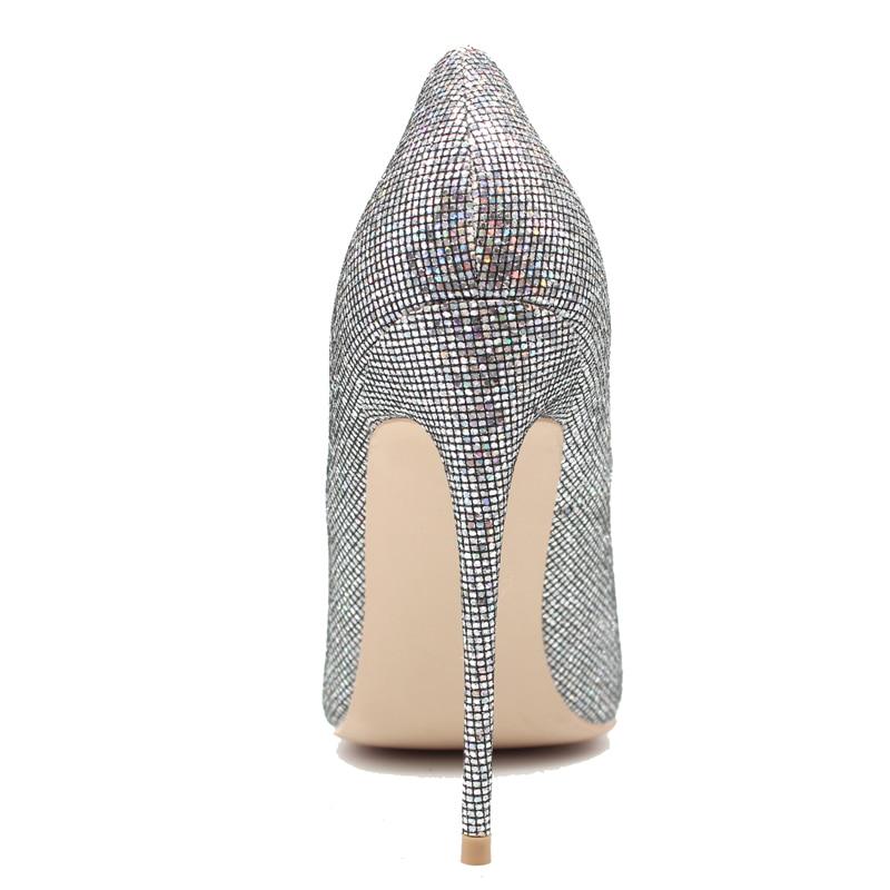 Silver silver Size45 silver De Chaussures 10cm Cm Cm 2018 Véritable Talons Cm Argent 8 Glitter Bling Mince Femmes En Pompes Escarpins Haute 12 10 Nouveau Mariage Grand 12cm Cuir 8cm wqwgSF