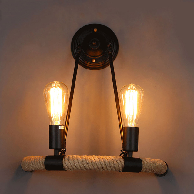 Vintage Retro Loft Touw Wandlamp  1